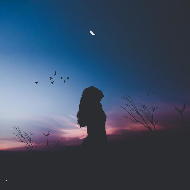 woman looking at stars